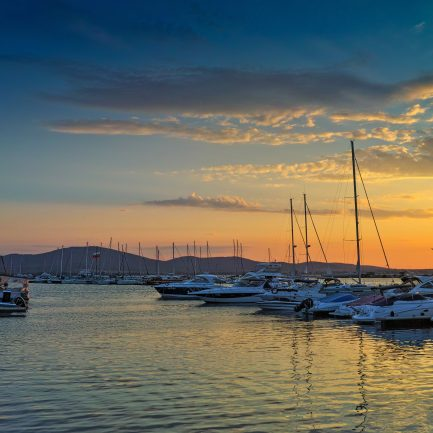 Sunset panorama on port of Sozopol, Burgas Region, Bulgaria